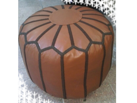 Black Leather Pouffe Pouf Puff Footstool Ottoman [ Click to See Photos ]