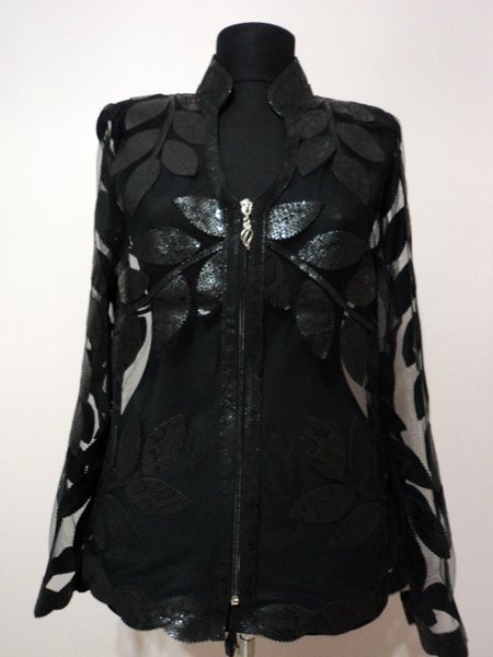 Black Snake Patter Leather Leaf Jacket for Women V Neck Design 10 Genuine Short Zip Up Light Lightweight [ Click to See Photos ]