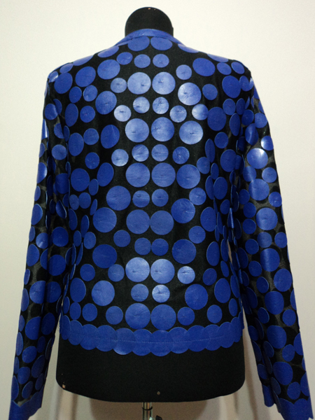 Blue Leather Leaf Jacket for Women Design 07 Genuine Short Zip Up Light Lightweight