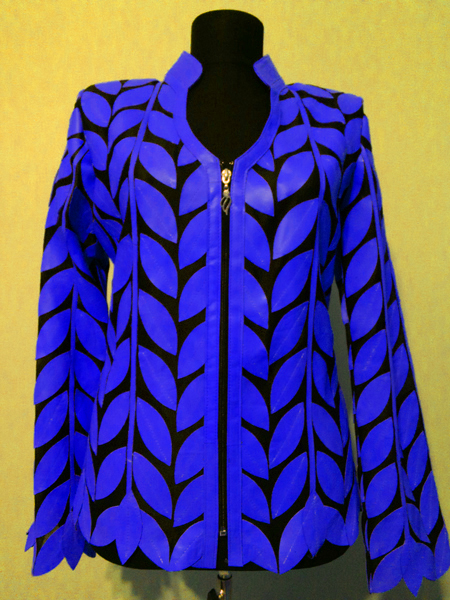 Blue Leather Leaf Jacket for Women V Neck Design 08 Genuine Short Zip Up Light Lightweight [ Click to See Photos ]