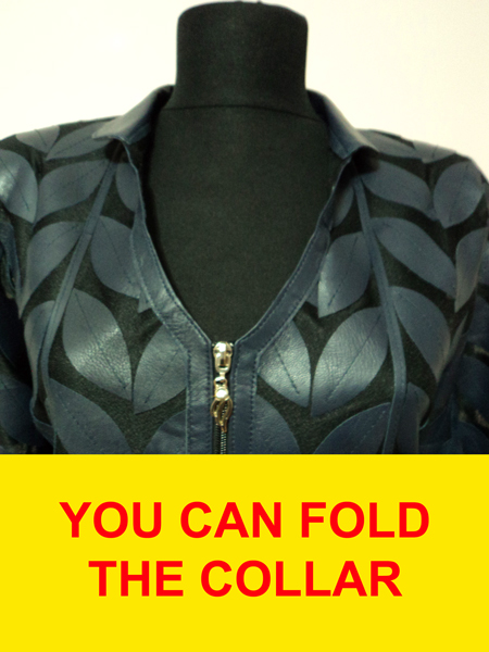 Blue Leather Leaf Jacket for Women V Neck Design 08 Genuine Short Zip Up Light Lightweight