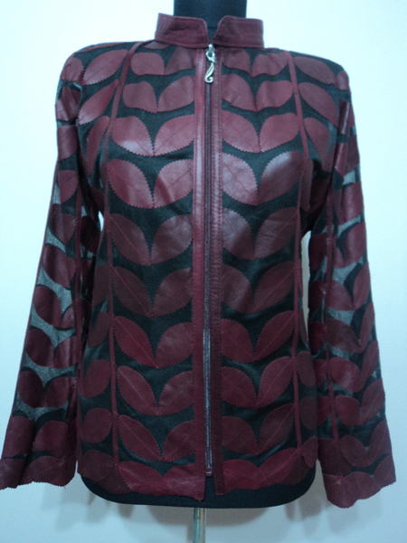 Burgundy Leather Leaf Jacket Women Design Genuine Short Zip Up Light Lightweight