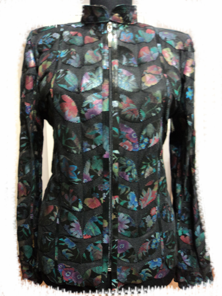 Flower Pattern Black Leather Leaf Jacket