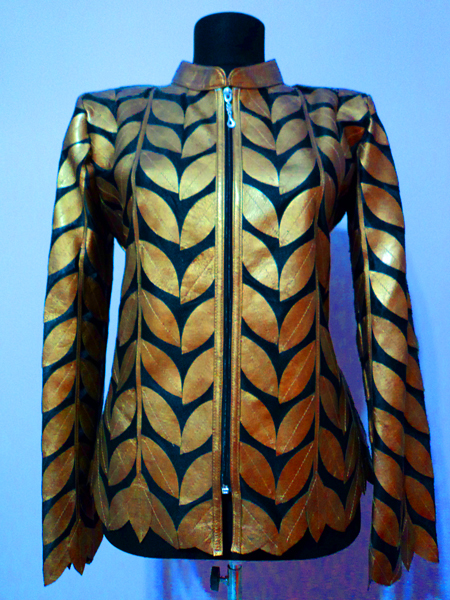 Gold Leather Leaf Jacket for Women Design 04 Genuine Short Zip Up Light Lightweight