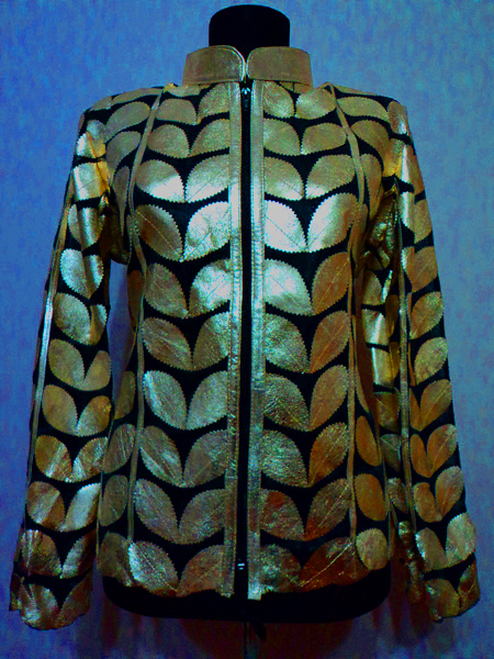 Gold Leather Leaf Jacket Women Design Genuine Short Zip Up Light Lightweight