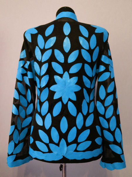Ice Baby Blue Leather Leaf Jacket for Women