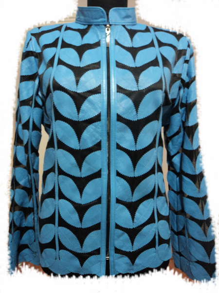 Ice Baby Blue Leather Leaf Jacket Women Design Genuine Short Zip Up Light Lightweight