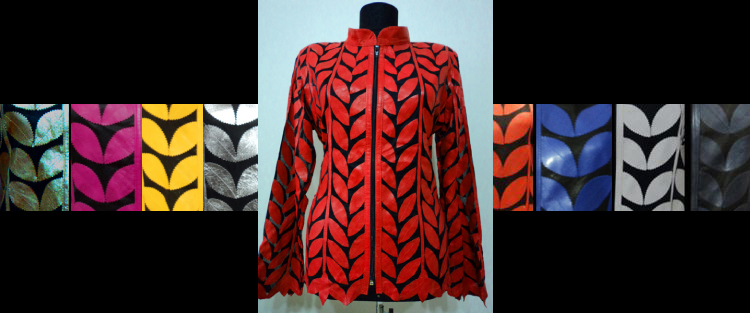 Leather Leaf Jacket for Women Design 04 Genuine Short Handmade Lightweight Meshed [ Click to See Photos ]