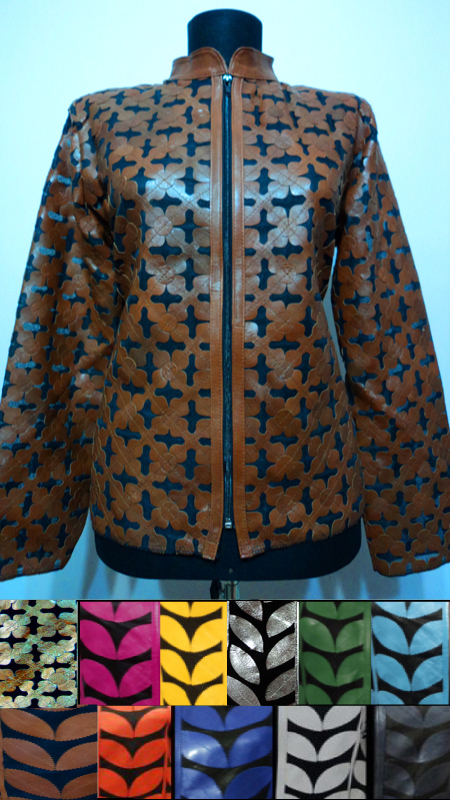 Patchwork Leather Leaf Jacket for Women Design 06 Genuine Short Zip Up Light Lightweight [ Click to See Photos ]