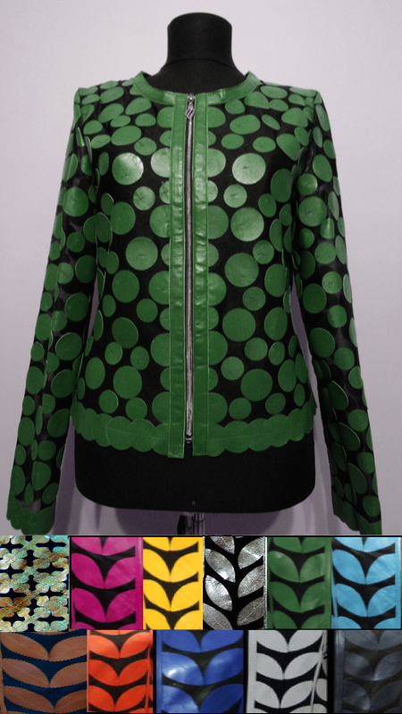 Patchwork Leather Leaf Jacket for Women Design 07 Genuine Short Zip Up Light Lightweight [ Click to See Photos ]