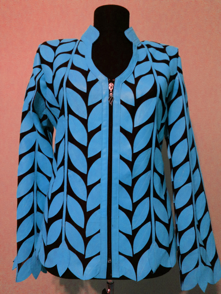 Light Blue Leather Leaf Jacket for Women V Neck Design 08 Genuine Short Zip Up Light Lightweight [ Click to See Photos ]