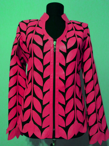 Pink Leather Leaf Jacket for Women V Neck Design 08 Genuine Short Zip Up Light Lightweight [ Click to See Photos ]