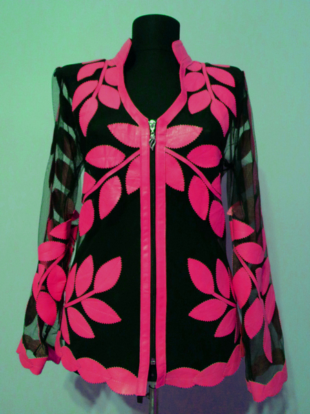 Pink Leather Leaf Jacket for Women V Neck Design 10 Genuine Short Zip Up Light Lightweight [ Click to See Photos ]