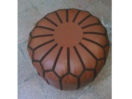 Pink Leather Pouffe Pouf Puff Footstool Ottoman [ Click to See Photos ]
