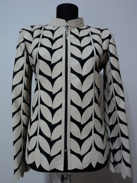 Plus Size Beige Leather Leaf Jacket Women Design Genuine Short Zip Up Light Lightweight