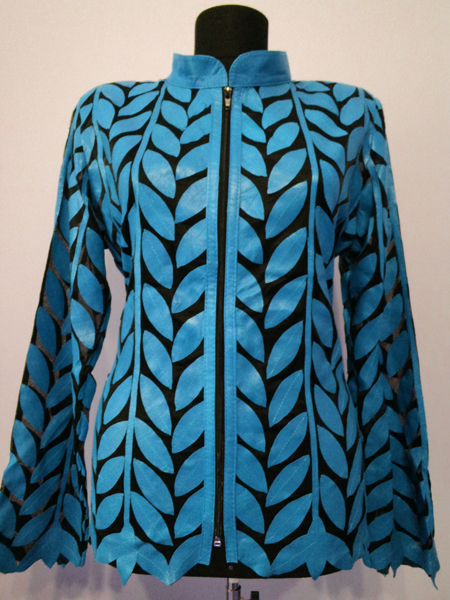 Plus Size Ice Baby Blue Leather Leaf Jacket Women Design Genuine Short Zip Up Light Lightweight