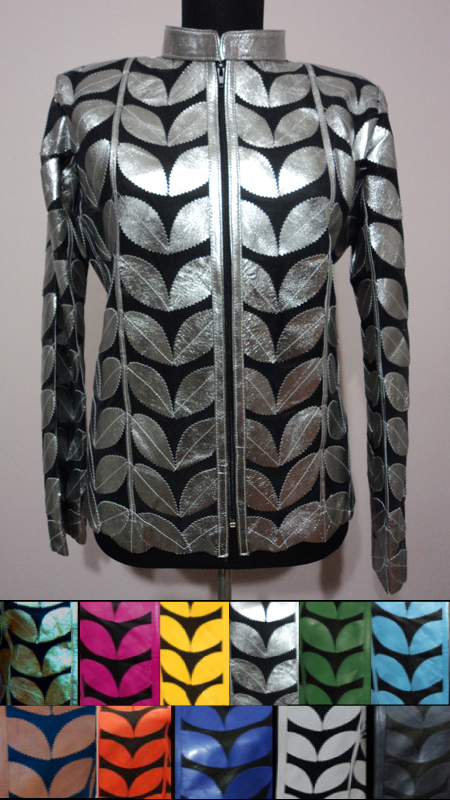 Plus Size Patchwork Leather Leaf Jackets for Women [ Click to See Available Colors ]