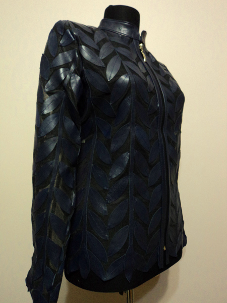 Plus Size Navy Blue Leather Leaf Jacket Women Design Genuine Short Zip Up Light Lightweight