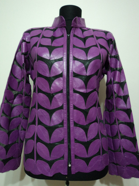 Purple Leather Leaf Jacket Women Design Genuine Short Zip Up Light Lightweight