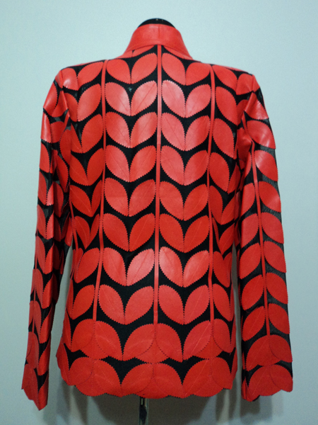 Red Leather Leaf Jacket for Women V Neck Design 09 Genuine Short Zip Up Light Lightweight