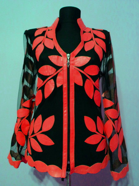 Red Leather Leaf Jacket for Women V Neck Design 10 Genuine Short Zip Up Light Lightweight [ Click to See Photos ]