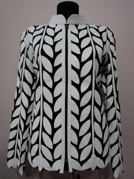 White Leather Leaf Jacket for Women Design 04 Genuine Short Zip Up Light Lightweight