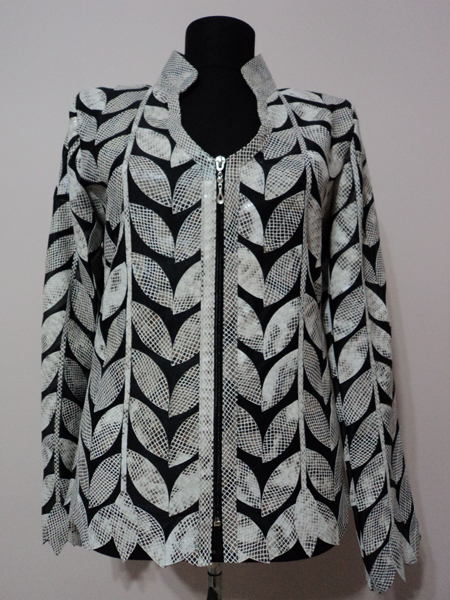 White Snake Patter Leather Leaf Jacket for Women V Neck Design 08 Genuine Short Zip Up Light Lightweight [ Click to See Photos ]