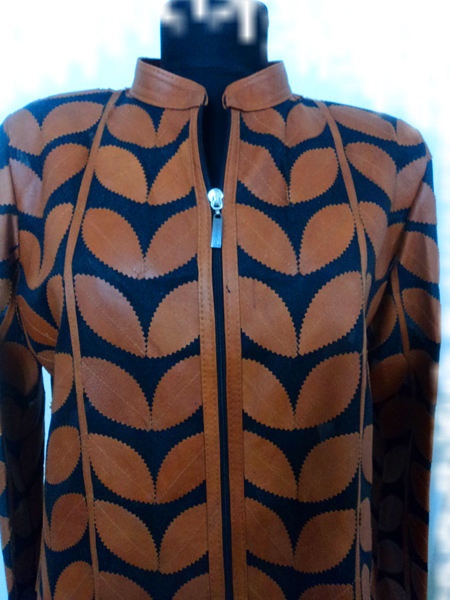 Womens Brown Leather Leaf Jacket