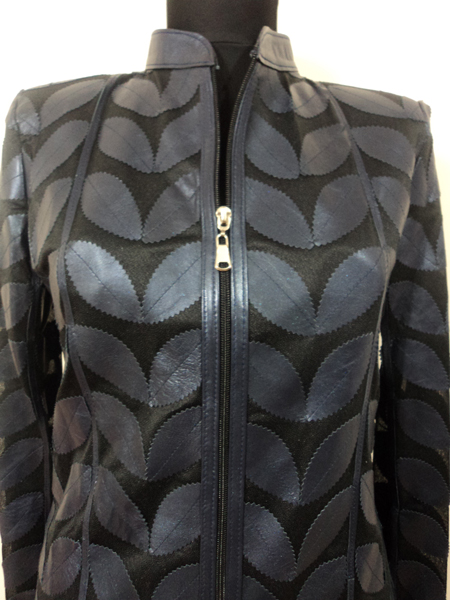 Navy Blue Leather Leaf Jacket for Women
