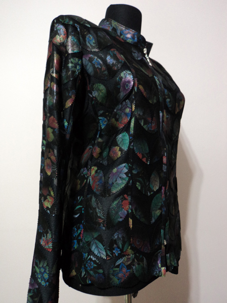Plus Size Flower Pattern Black Leather Leaf Jacket for Women