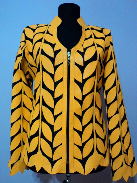 Yellow Leather Leaf Jacket for Women V Neck Design 08 Genuine Short Zip Up Light Lightweight [ Click to See Photos ]