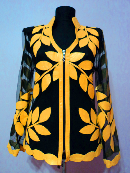Yellow Leather Leaf Jacket for Women V Neck Design 10 Genuine Short Zip Up Light Lightweight [ Click to See Photos ]